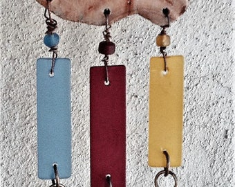 Recycled Glass Wind Chime Suncatcher Mobile-Primary Colors