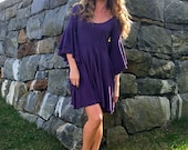 FALL SAMPLE SALE. True Love Waits babydoll mini dress in organic hemp jersey. Ready to ship. Size small in Eggplant.