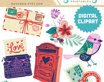 VALENTINE LETTERS Digital Clipart Instant Download Illustration Folk Art Bird Valentine's Day Love Letter Flowers Stamp Postcard Clip Art