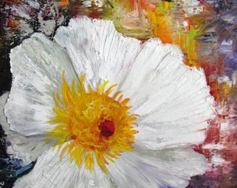 Poppy White Abstract  Palette Knife Textures Barbara Haviland Barbsgarden