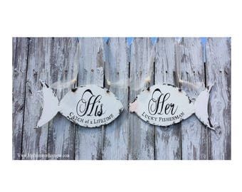 Mr and Mrs WEDDING CHAIR SIGNS | Her Lucky Fisherman | His Lucky Catch | Wedding Signs | Beach Wedding Decor | Rustic Wedding | Fish |Bridal