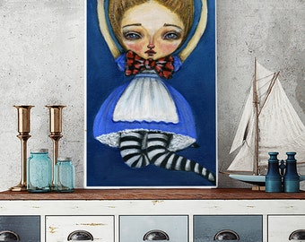 Freefall - A pop surreal print reproduction of original Alice in Wonderland painting by Danita