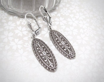 Art Deco Earrings, Antiqued Silver Plated Brass Earrings, Art Nouveau Earrings, Bridesmaid Gift, Bridal Wedding Jewelry