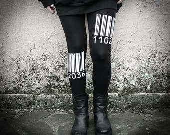 BARCODE WHITE - Industrial Printed Black Leggings Dystopian Cyberpunk Alternative Clothing Urban Post Punk Decay