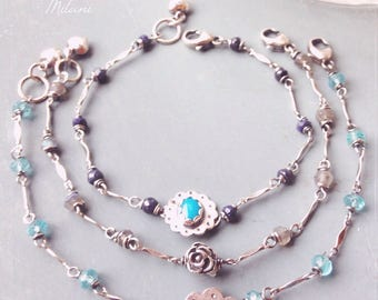 Blue Bridesmaid Bracelets Turquoise Aqua Gray Navy Mismatched Ombre Sterling Silver Monogram Stackable Rustic