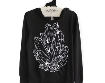 SALE Small- Black SOFT Pullover Hooded Sweatshirt with Crystal Screen print