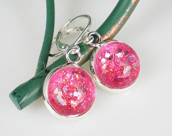 Bright Pink Glitter Nail Polish Earrings Jewelry Sally Hansen Twinkled Pink Nail Polish Jewelry