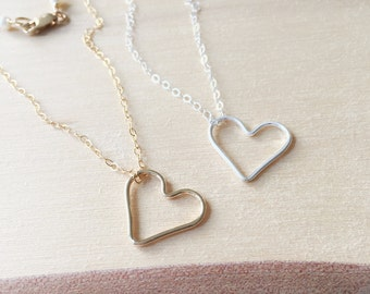 Heart Necklace, Best Friend Gift, Open Heart Necklace, Gold Heart Necklace, Silver Heart Necklace, Simple Necklace, Sisters Necklace, Dainty