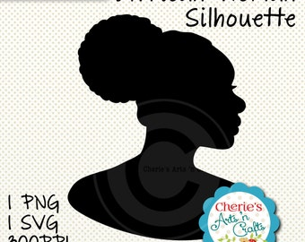 African Woman Silhouette | Silhouettes | Clip Art | Female Silhouettes | Digital Downloads | Digital Art PNG and SVG | Die Cutting Graphics