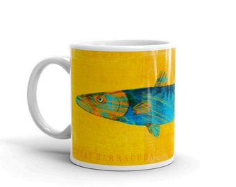 Fishing Gifts for Men- Mug for Him- Husband Gift- Fish Mug- Great Barracuda Mug- Fishing Gift- for Fisherman Gift- Fish Gift for Him