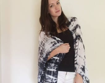 Hand Dyed Rayon Cloud Wrap in Moonstone , Black and White, Anna Joyce, Portland, Oregon