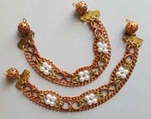 Vintage copper brass and faux pearl chain