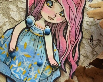 Jointed Articulated Paper Dolls -Paper Goods - Hand-painted - Cut and Assembled - Lil Princess - Cute - Kawaii - Anime style