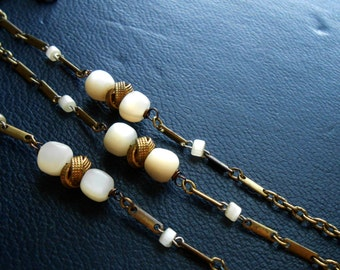 miss havisham - mother of pearl and gold bracelet - repurposed antique victorian rosary beads