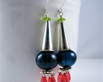 Ink Blue and Pink Dangle Earrings