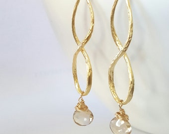 Champagne Earrings, Long Champagne Gold Earrings, Bridal Jewelry, Bridesmaid Earrings, Gift for Her