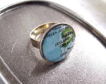 Ireland Ring// Vintage Ireland Map Ring - Dime Coin Ring - Ireland map - Cork Map ring -