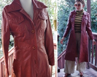 BROOKLYN 1970's Vintage Deep Brick Red Leather Long Trench Coat // size Small // by Gassy JACK