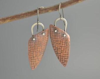 Copper and Silver Earrings, mixed metal earrings, triangle earrings, geometric, dangle, long drop, oxidized, industrial, metalwork, texture
