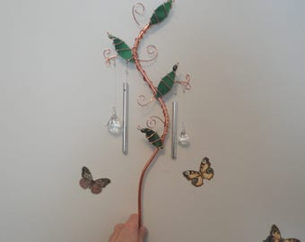 Healing Garden Stake, Wind Chimes, Copper Vine, Sculpture, Stained Glass, Potted Plant Decor, Garden Bed Decor, Glass Leaves, Nature, Jewels