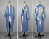 antique kimono / silk robe / reversible / bohemian / ALCOTT vintage 1930s kimono / cornflower blue