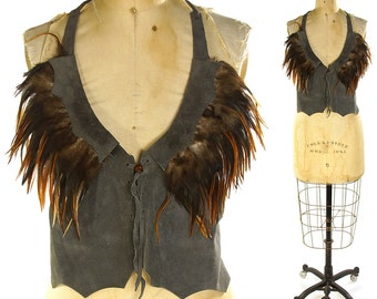 Vintage Suede Halter Top with Feathers / Grey Leather Lace Up Fringed Tank / Hippie Boho Ethnic Bohemian Backless Shirt with Ties / Medium