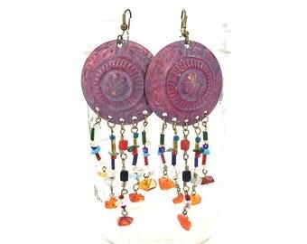 80s LONG Brass Patina Gemstone Fringe Earrings / Ethnic Avant Garde Primitive Aged Patina Dangle Earrings / Bohemian Gypsy Chandelier