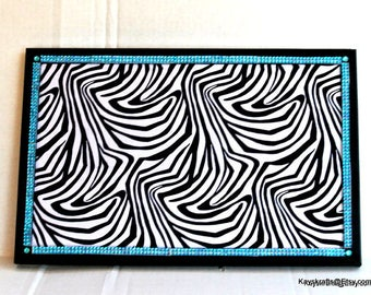 Zebra With Bling Cork Board Cork Bulletin Board Cork Message Board Cork Pin Board 17x11 Tack Board Black Frame Corkbord Cork Organizer Board