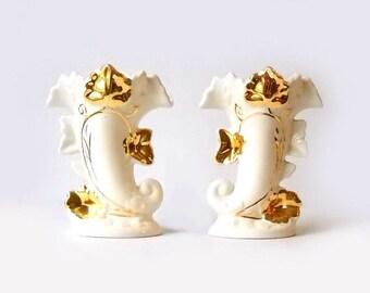 Cornucopia Vases, Vintage Pottery with 22 Kt Gold, F & M Artware, Thanksgiving or Autumn Table Decor
