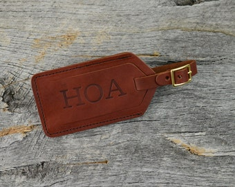 Chestnut Leather Luggage Tag with Free Monogram - Personalized Travel Gift for Man Boyfriend Husband Brother Dad Grad