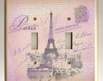 Double Toggle Light Switch Plate - Pink, Lavendar and Tan Paris Eiffel Tower and Love Letters