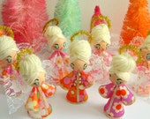 Handmade Swinging 60s Vintage Fabric Hanging Angel Ornament