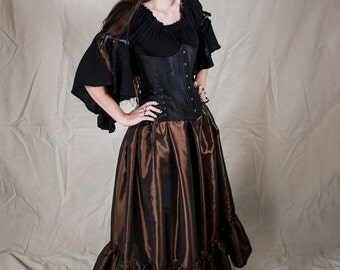 Steampunk Brown Taffeta Ruffle Skirt - Halloween Costume - Renaissance Clothing - Steampunk Prom - Long Ruffle Skirt - Victorian Costume