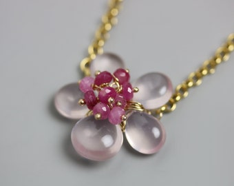 Rose Quartz Flower Necklace with Pink Sapphire Cluster