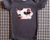 custom gift state pride -- hipster beaver lumberjack -- baby onesie or toddler tee -- choose your state!