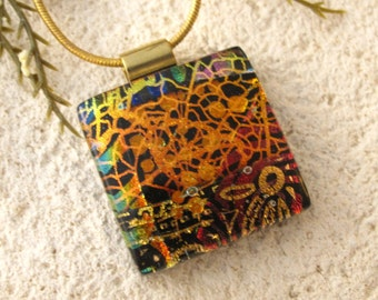 Dichroic Pendant, Golden Copper Red, Dichroic Glass Necklace, Dichroic Jewelry, Glass Jewelry, Fused Glass Jewelry, Gold Chain, 103016p109