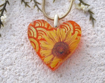 Sunflower Necklace, Sunflower Jewelry. Dichroic Glass  Jewelry, Fused Glass Jewelry, Dichroic Heart Necklace, Gold Necklace,  111116P103