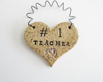 Teacher Heart Ornament, ceramic clay, personalized, handmade, ready to mail, #1 Teacher
