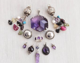 11 Sterling Silver Amethyst pieces - charms pendants beads for jewelry making - salvaged vintage and pre-owned