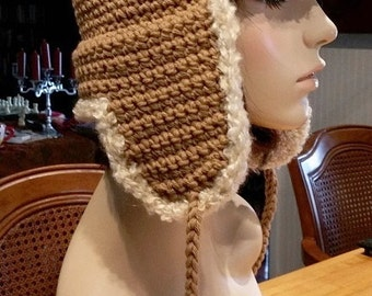 hand crochet russian trapper bomber aviator Hat womens hat womens accessories pilot fur hat  - camel - shorter ear flaps - Made to ORDER