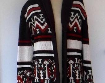 Vintage Sweater jacket, 1970s woman cardigan/ Bohemian jacket/BoHo Hippie Aztec tribal jacket coat/sweater knit coat/Southwest design jacket