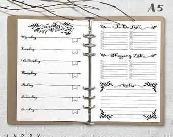 Printable Weekly Planner, A5 Weekly Planner, Printable weekly planner A5 inserts, Journal Page PDF file