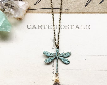 S o a r...Crystal Quartz necklace, dragonfly patina brass connector, boho, Crown chakra, layering necklace Etsy Gifts for Her FREE SHIPPING