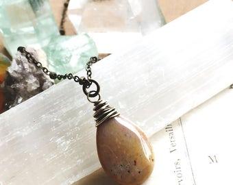 E a r t h l y...Ocean jasper necklace, moonstone, jasper necklace, boho, Heart chakra, healing, brass necklace FREE SHIPPING