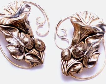 2 Golden Flower Ear Wraps  -  GOLDEN MORNING GLORY -  Intricate Brass Ear Cuff Pair