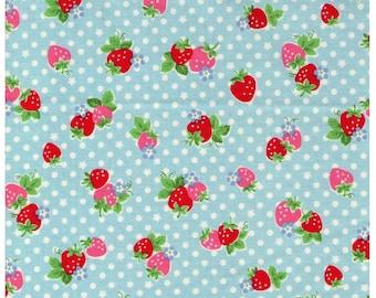 HALF YARD Yuwa - Red and Pink Strawberries on BLUE and White Polka Dots - Atsuko Matsuyama 30s collection - Daisies  Japanese Import Fabric