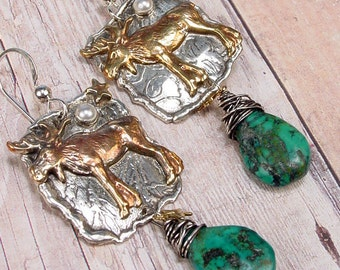 MOOSE TOTEM - OOAK One Of A Kind - Sterling Silver Earrings With Hand Cut Turquoise Briolettes, Pearl Cabochon