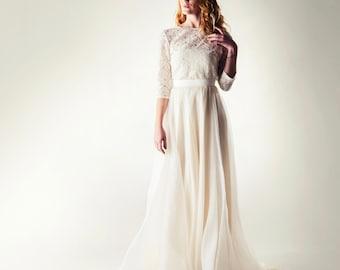 Wedding dress, Boho wedding dress, Lace wedding dress, Two piece wedding dress, Wedding separates, Modest wedding dress, Long sleeve dress