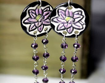 Lotus Flower Longline Dangle Ceramic Earrings with Purple Crystals