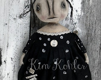 Adorbs! INSTANT Download Doll Pattern Little Witch Wednesday Primitive Halloween PDF E Patterns Pumpkin Goth Cloth Fabric Sewing Kim Kohler